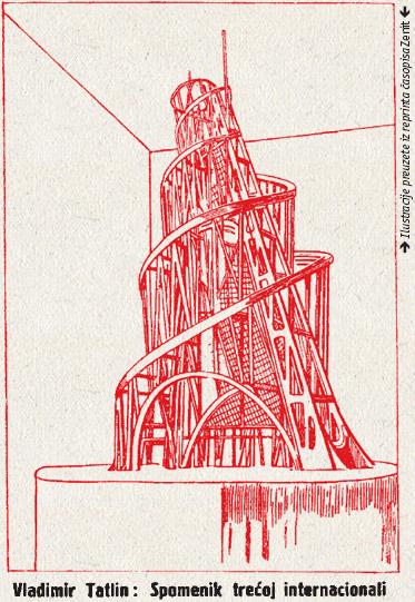 Vladimir Tatlin: Spomenik trećoj internacionali. Ilustracije preuzete iz reprinta časopisa Zenit