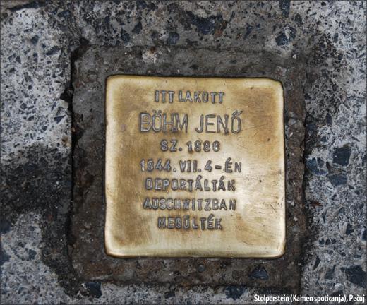 Stolperstein (Kamen spoticanja), Pečuj / Foto: Daša Drndić