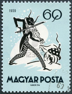 15180993-hungary--circa-1959-a-stamp-printed-in-hungary-shows-the-cricket-and-the-ant-circa-1959
